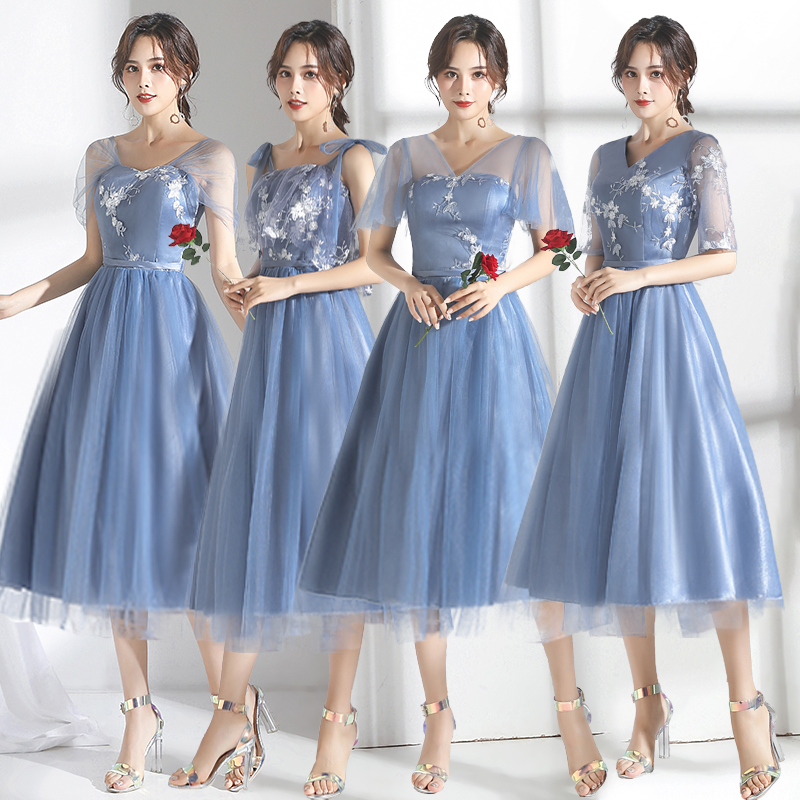 Gray Blue Long Tulle Bridesmaid Dress Tea-Length Embroidery A-Line Elegant Women For Wedding Party Dress Prom Azul Royal Vestido