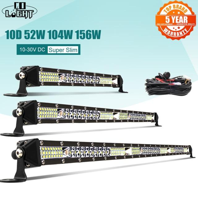 CO ضوء 10D 10 20 30 بوصة 52 واط 104 واط 156 واط LED قضيب مصابيح عملي كومبو 4x4 مصباح ليد للطرق غير الممهدة بار ل جرار قارب 4WD 4x4 الشاحنات ATV