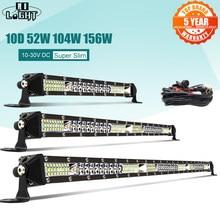 Co light barra de lâmpada 10d 10 20 30 polegadas 52w 104w 156w led 4x4 offroad barra de luz led, para trator, barco 4wd 4x4 caminhões atv