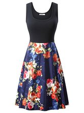 Women Sleeveless Rose Printing Dress Fit and Flare Vintage Dress Elegant недорого