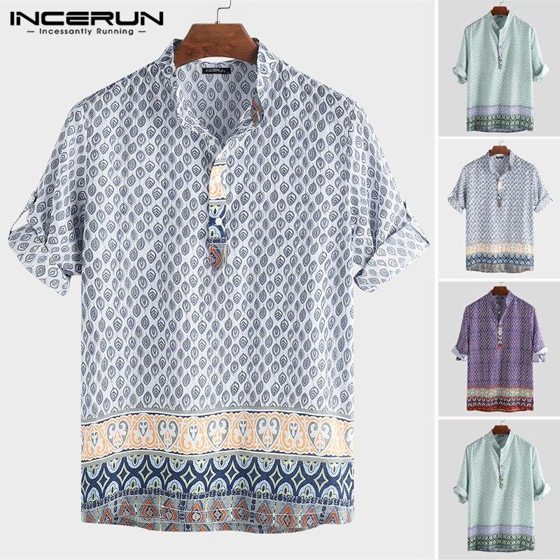 INCERUN 2020 Men Bohemian Hawaiian Shirt Print Loose Stand Collar Half Sleeve Tops Camisa Beach Casual Shirts Men Pullovers 5XL