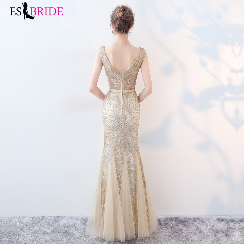 Gold Evening Dresses Long Mermaid Sexy Fashion A line Sleeveless 2019 Elegant Floor Length Wedding Party Gowns Robe De Soiree in Evening Dresses from Weddings Events