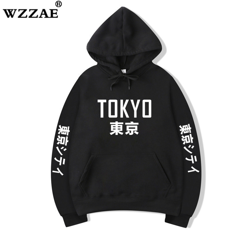 2019 New Arrival Japan Harajuku Hoodies Tokyo City Printing Pullover Sweatshirt Hip Hop Streetwear Men/Women Black Hoodies S-3XL