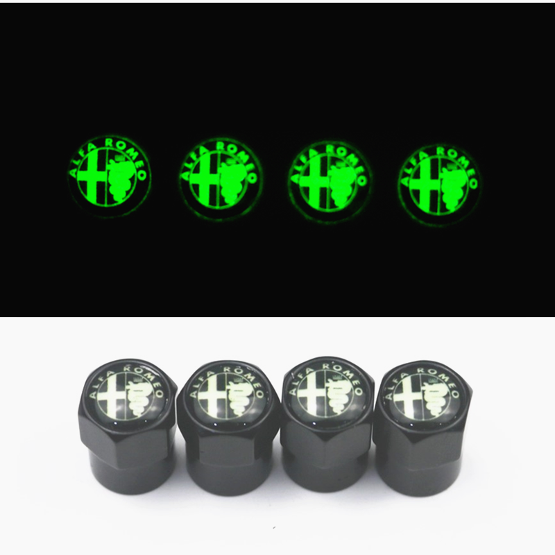 New Luminous Car Styling Valves Caps Case For Alfa Romeo Mito 147 156 159 166 Car-Styling Auto Wheel Tyre Tire Stem Air 4pcs/lot