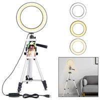 7.9 inch Phone Video LED Ring Light with Tripod Holder Dimmable Fill in Beauty Selfie Lamp Photography Studio Flashes Tools