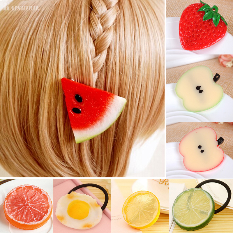 2019 Girls Hair Accessories Fruit Scrunchie Hair Clips For Women Girls Hairpins Headdress Watermelon Lemon Barrette Hair Ring