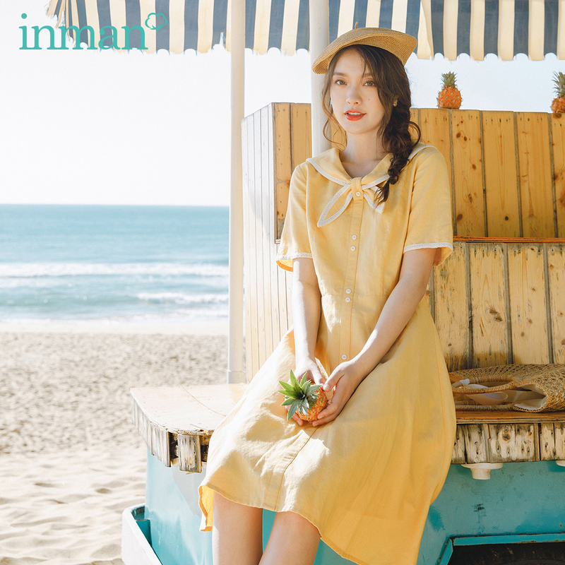 INMAN 2020 Summer New Arriavl Preppy Style Sweet Short Sleeve Contrast Color Cotton And Linen Dress