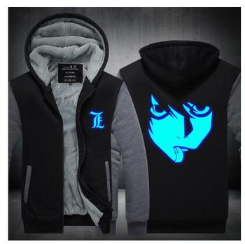 High-Q Unisex Anime Death Note L Thick Cardigan Hooded Hoodie Sweatshirts Jacket Top Coat