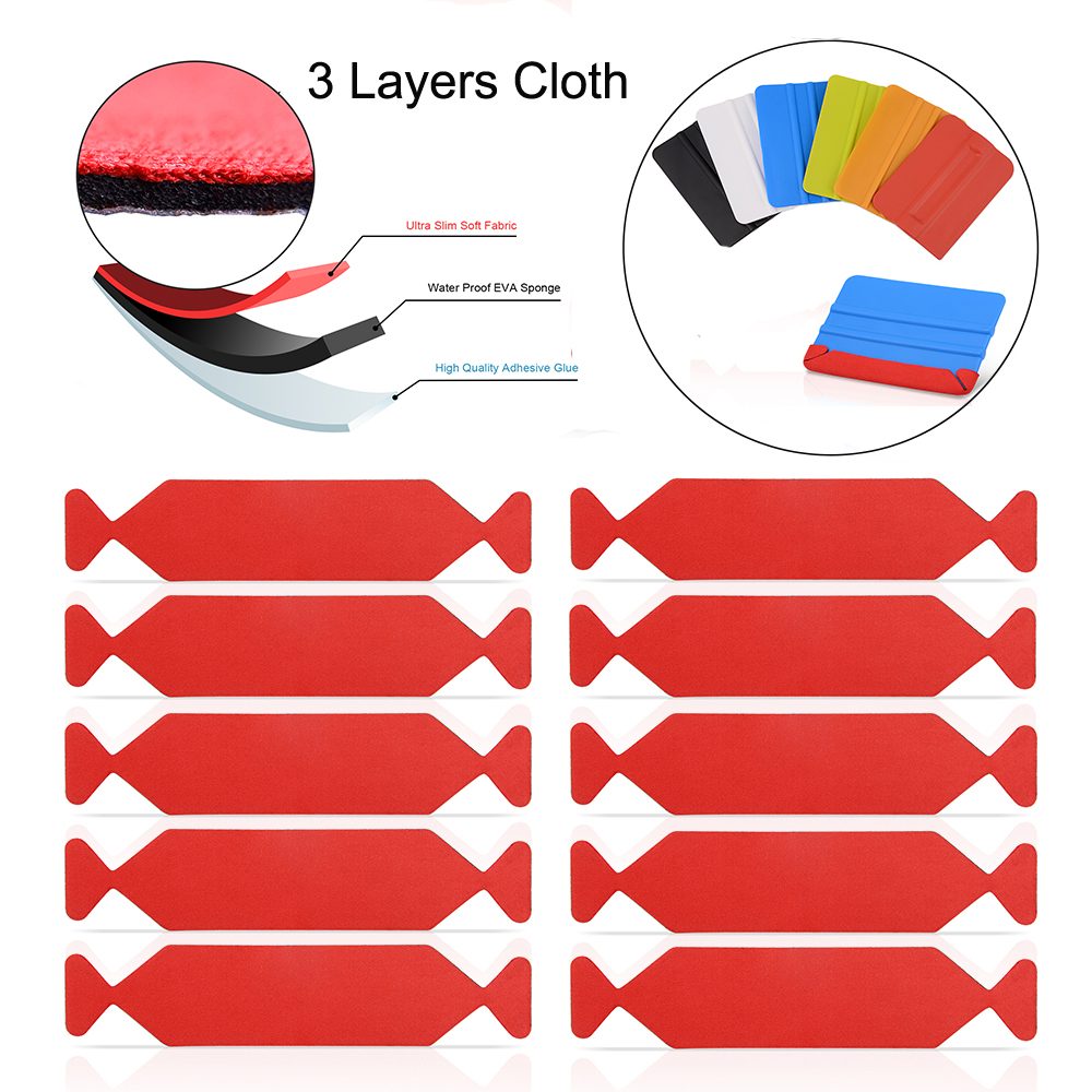 FOSHIO 10PCS 3 Layers Waterproof Fabric Cloth for 10cm Squeegee Carbon Fiber Vinyl Film Car Wrap Window Tint Scraper Protector in Scraper from Automobiles Motorcycles