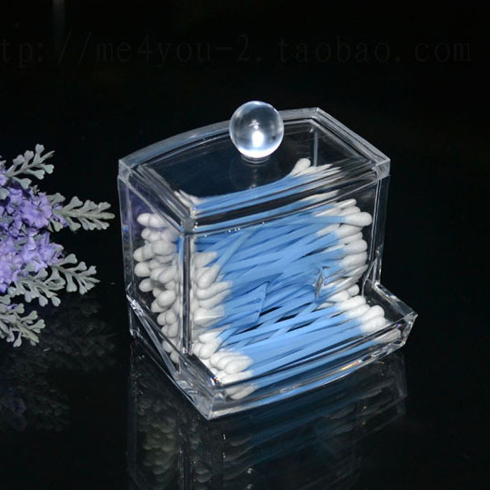 Case Stick-Storage Makeup-Organizer Cosmetic Acrylic Transparent Creative Cotton Swabs-Box-Holder title=