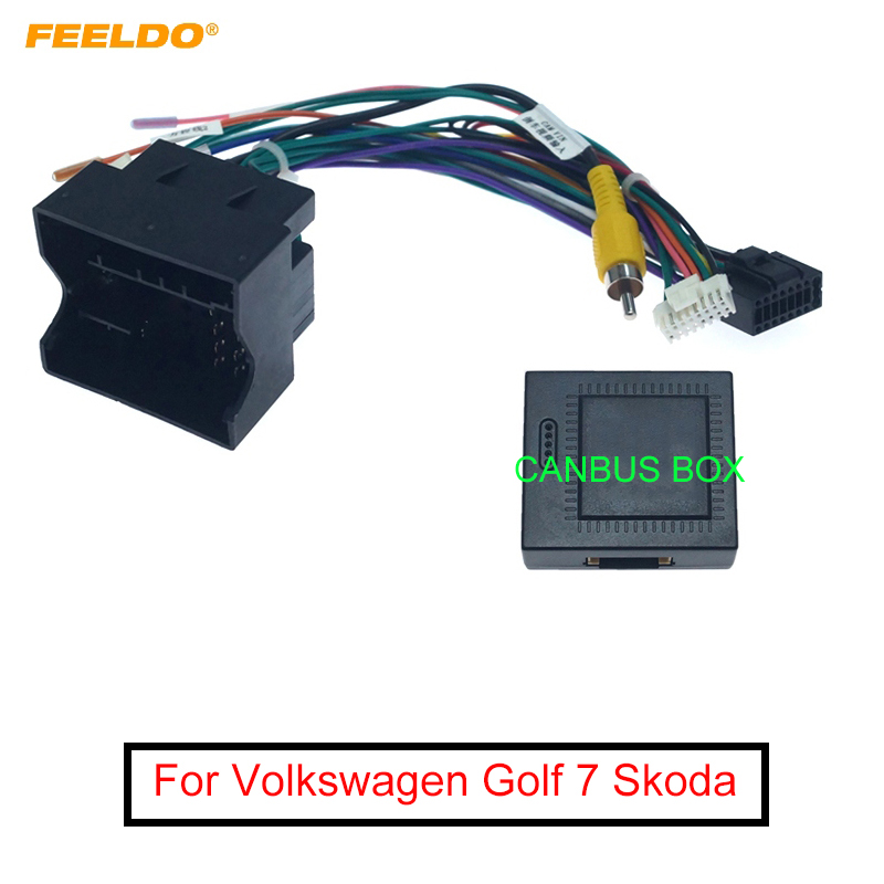 FEELDO Car Audio 16PIN Andriod Player Power Calbe Adapter With Canbus Box For Volkswagen Golf 7 Skoda Stereo Plug Wiring Harness