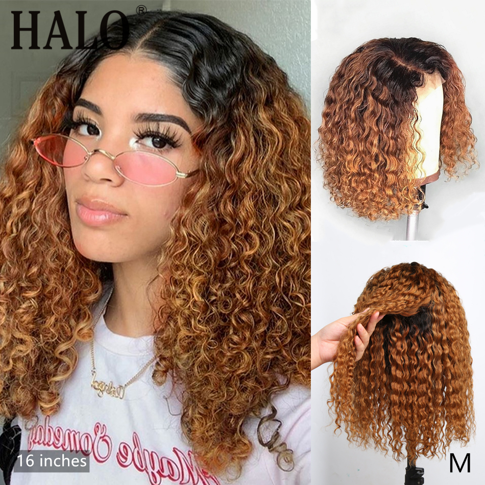 1B/27 Ombre Color Short Curly Lace Front Human Hair Wigs With Baby Hair Pre Plucked Brazilian Brown 13x4 Lace Bob Wig 150% Remy