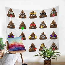 2019 New Emoji Tapestry Cute Wall Hanging Expression Women Carpet Cloth Psychedelic World Map