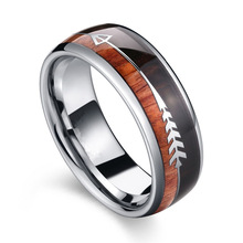 Fashion Tungsten Carbide Wood Rings Steel Arrow Inlay For Men Women Classic Engagement