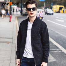 New Casual Winter Solid Color Cardigan Sweater Coat Baseball Collar Plus Velvet Thick Youth Men Warm MWK010