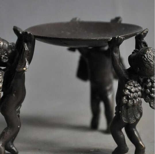 --- 518 + + + chine Folk recueillir vieux Bronze cupidon ange aile bougeoirs Menorah plaque Statue