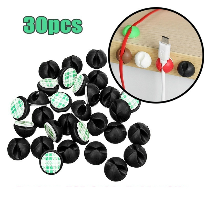 30Pcs Multipurpose Car Desk Desktop Wall Round USB Wire Cord Cable Holder Clip Organizer Retainer Clamps Collation Management