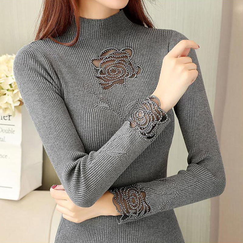 Rose Embroidery Turtleneck Sweater Women Spring Autumn Diamonds Transparent Slim Knit Pullover Jumper свитер женский M9D503Y