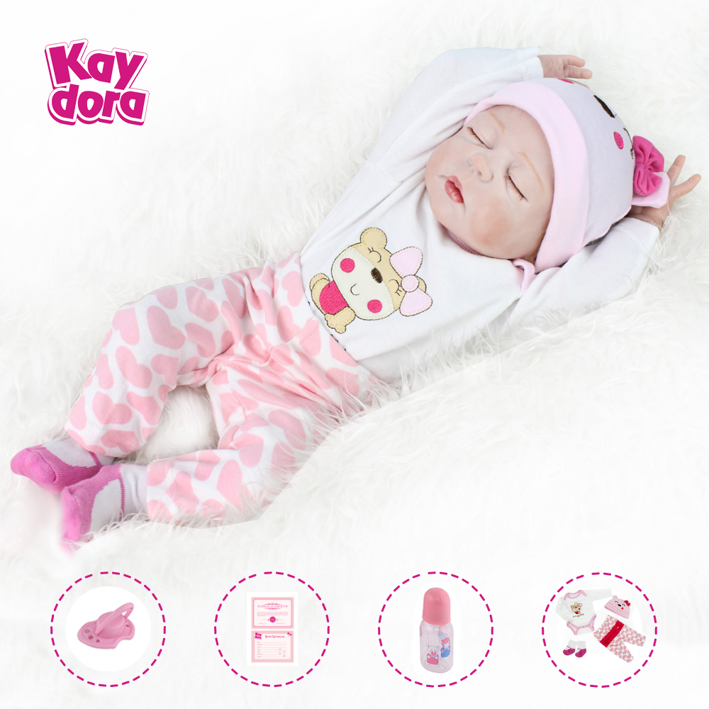 Funny House Real Looking Reborn Baby Dolls Sleeping 55cm 22inch Lifelike Soft Silicone Vinyl Realistic Newborn Doll Child Growth Partner Free Magnet Pacifier Xmas Present Toys Games Dolls
