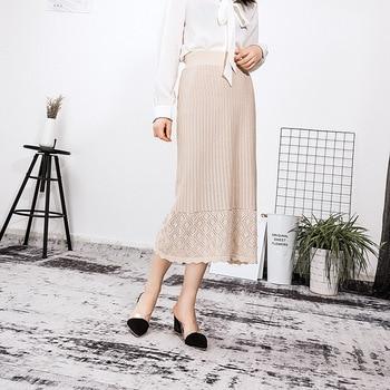 2019 Winter Skirts Womens Elastic High Waist Solid Kintted Skirts Elegant Office Lady Skirt Jupe Femme Faldas Saia Korean Skirts фото