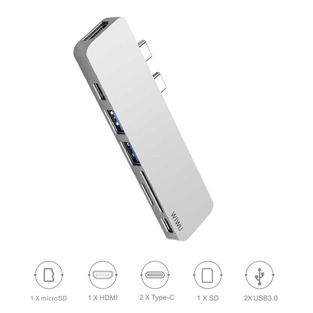 WIWU USB Hub 7 in 1 Type-C Hub 3.0 Dual Type-C for Macbook Pro USB-C Adapter with HDMI 4K Video PD Card Read SD/TF 3.0 USB Port