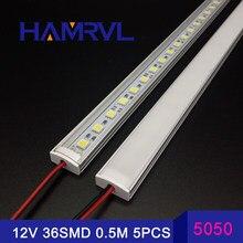Luz de cozinha sob armário dc 12 v 5050, led barra de tira rígida u caixa de alumínio lisa leve capa 50 cm para casa