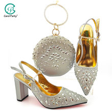 2020 Comfortable Heels Sandals with Matching Bag for Woman Shoes and Bag Set High Quality Italian Wedding Shoes in Silver(China)