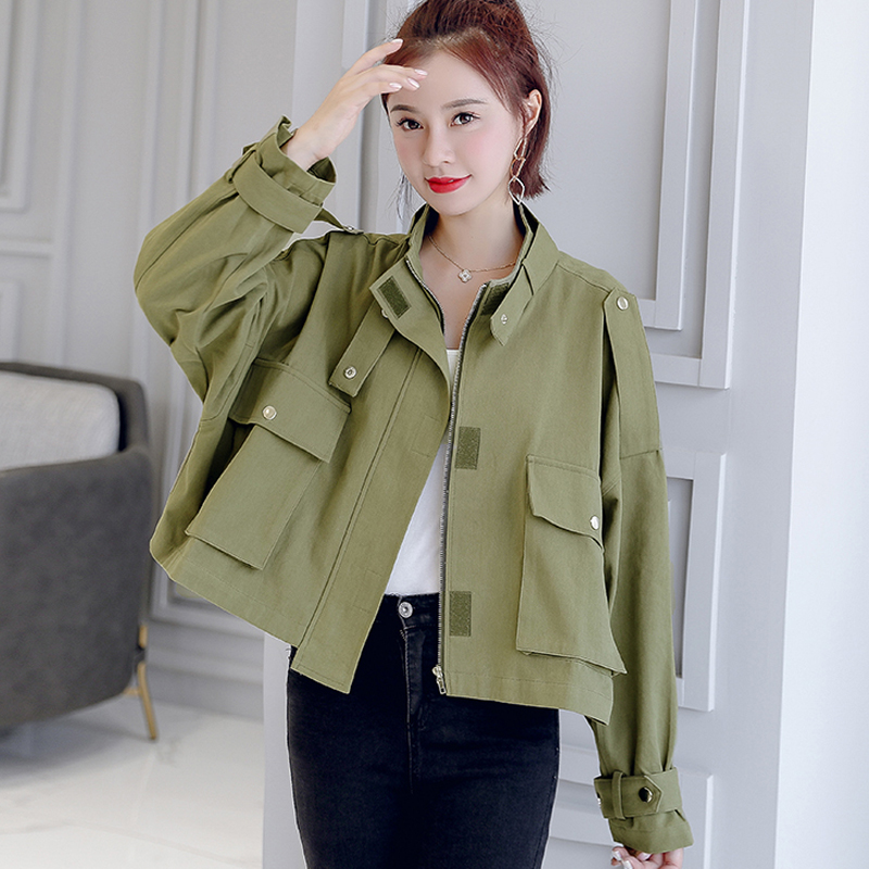 Winter Women Jacket Short Women's Windbreaker Tooling Jacket Female Loose Casual Pocket Coat 5