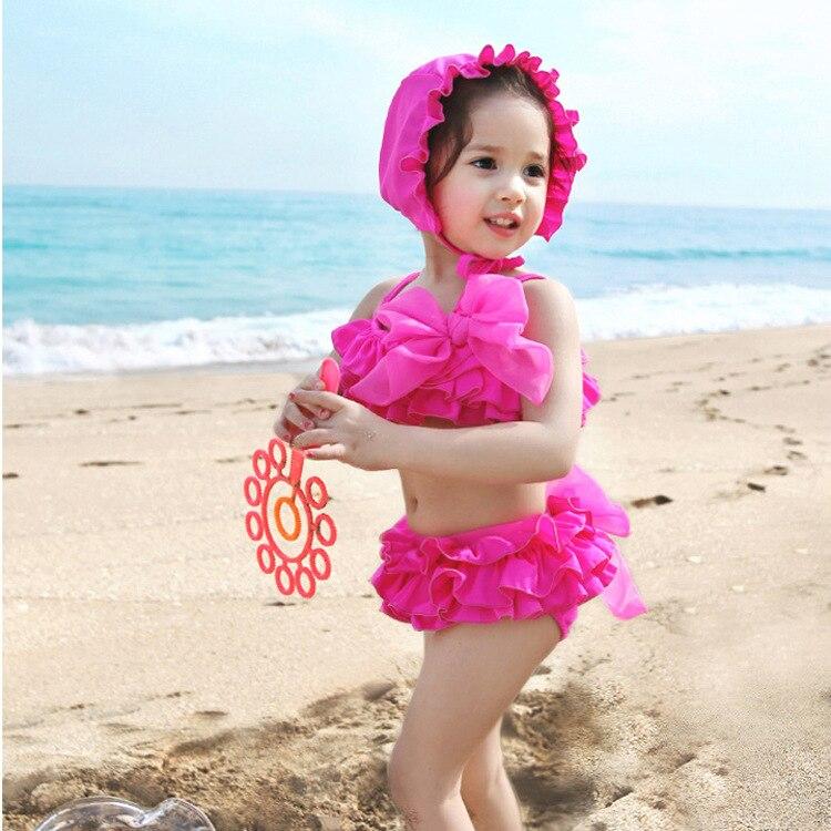 KID'S Swimwear Bow With Swim Cap Girls' Two-piece Swimsuit Three-piece Set Bikini Lace Dress