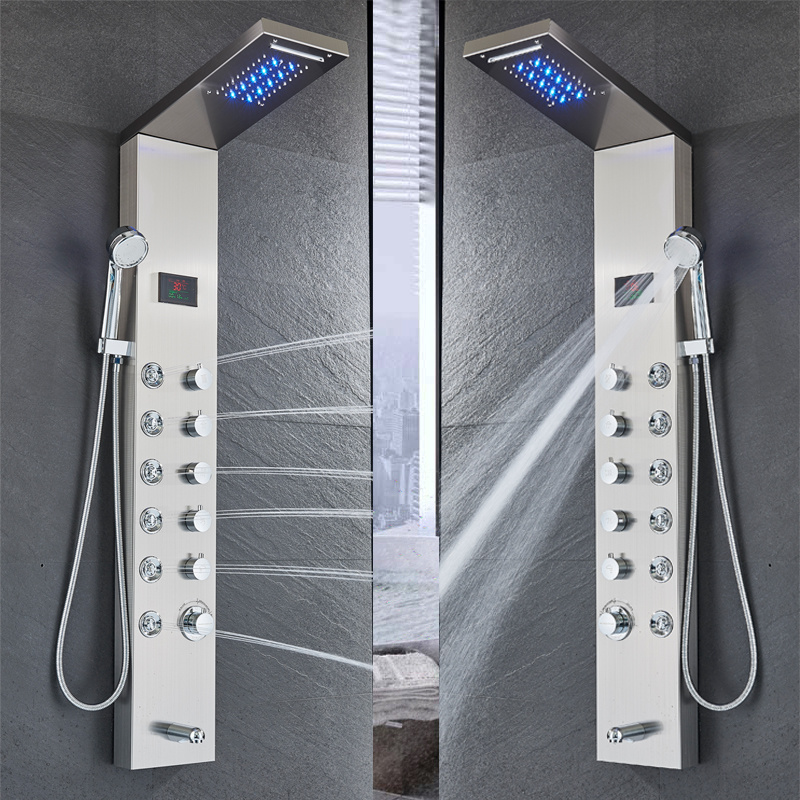 H3bcd89d3588542f4820f554c5e890ac5O Newly Luxury Black/Brushed Bathroom Shower Faucet LED Shower Panel Column Bathtub Mixer Tap With Hand Shower Temperature Screen