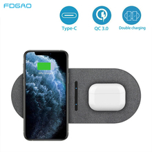 FDGAO 2 in 1 30W Wireless Charger for iPhone 12 Pro Max Mini 11 XS XR X 8 Airpods Qi Dual Fast Charging Pad For Samsung S21 S20