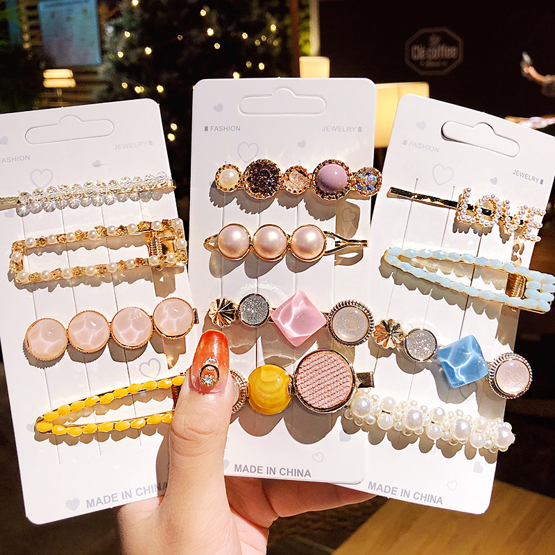 Beads Hairpins Women 2020 New 3/5 Pcs/set Ins Geometric Girls Elegant Hair Accessories Sweet Headband Hair Barrettes Fashion