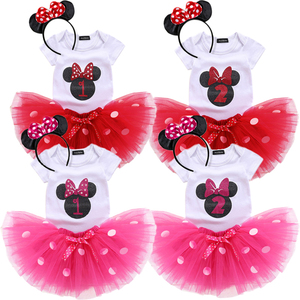 Newborn Baby Girl Tutu Polka Dots Dress 1st 2nd Birthday Outfits Costume Infant Dress Girl Party Summer Clothes(China)