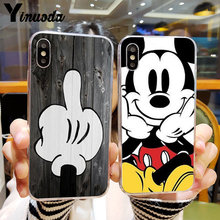 Os Amantes Se Beijando Yinuoda Mickey Minnie Mouse Tampa Do Telefone para o iphone X XS MAX 6 6s 7 7plus 8 8Plus 5 5S SE XR 11 pro max(China)