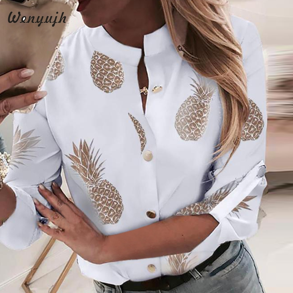 Wenyujh Blouses Women's White Shirt Pineapple Print Long Sleeve Blouses Woman 2019 Autumn Womens Button Tops And Blouses Female