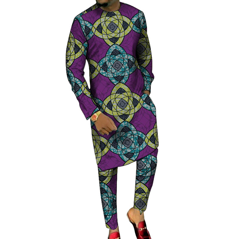 Clearance SaleLong-Shirts Trousers Party-Clothes Dashiki-Print Custom-Made Male African Pant-Sets Groom-Suits