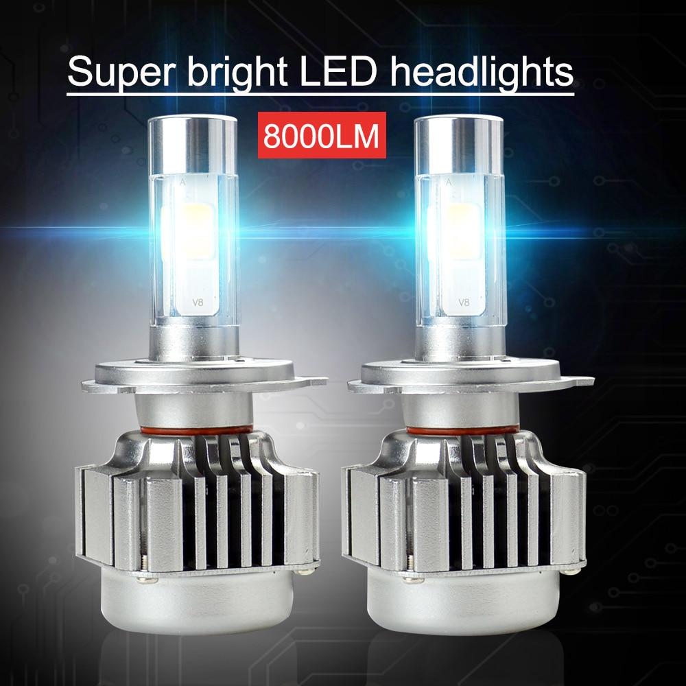 H4 C6 9003 HB2 Car LED Headlight Bulbs High Low Beam 72W 7600LM White Bright