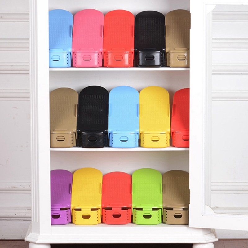 10Pcs Adjustable Shoe Organizer Modern Double Shoe Rack Storage Space Saver Shoes Organizers Stand Shelf for Living Room Shoe Racks & Organizers     - title=