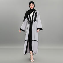 Embroidery Open Abaya Hijab Dress Women Lace-up Long Robe Kaftan Muslim Turkey Dubai UAE Caftan Kimono Jubah Islamic Clothing(China)