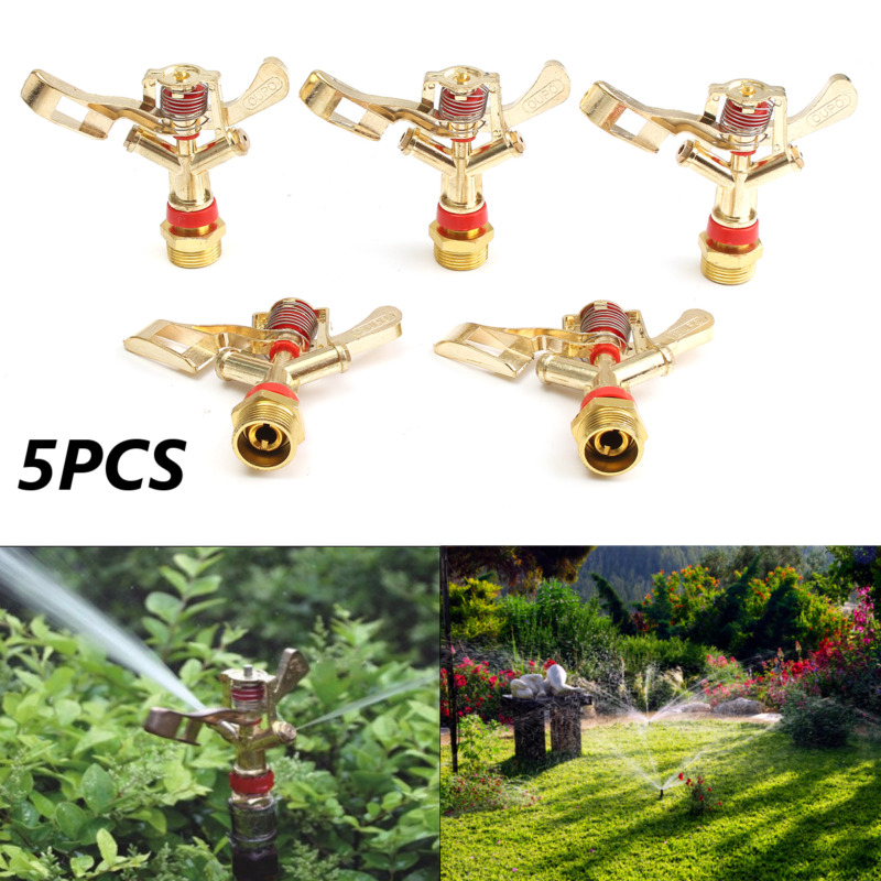 5pcs 3/4 Inch 360 Lawn Sprayer Nozzle Micro Irrigation Hose End Zinc Alloy Rotary Watering Impact Sprinkler Garden Sprinkles