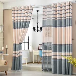 Linen Curtains Printing Living-Room Stripes Cotton And Shading Finished-Products
