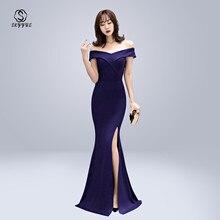 Skyyue Evening Dress Off The Shoulder Women Party Dresses Short Sleeve Robe De Soiree 2019 Sexy V-neck Split Formal Gowns C087