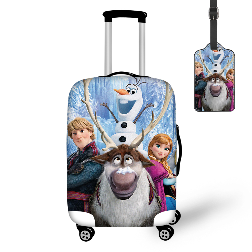 THIKIN Travel Luggage Cover And Tag With Popular Movies Frozen 2 Print Protective Case Easy Convenient For Tourism Custom Design