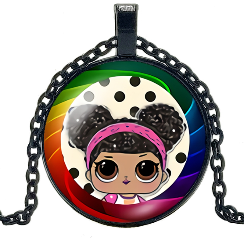 2019 New Hot Mini Anime Cartoon Pattern Glass Convex Round Fashion Necklace Pendant Children 39 s Gifts in Pendant Necklaces from Jewelry amp Accessories