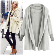 New Autumn Winter Women Coats Vestido Plus Size Fashion Casual Loose Solid Full Sleeve Hooded Plush Coat For Women Large Outwear(China)