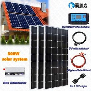 Комплект закаленной системы солнечной панели 3х100 Вт 300 Вт, модуль батареи 30А, регулятор контроллера 110 В/220 В, инвертор для 12 В заряда батареи ...