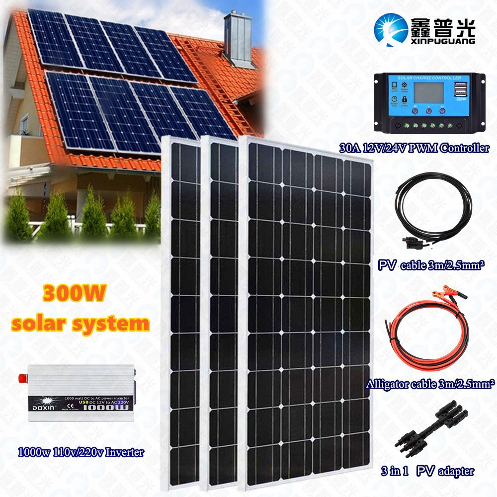 3x 100w 300w Tempered Solar Panel System Kit Module Cell 30A Controller Regulator 110v/220v Inverter For 12v Battery Charge Home
