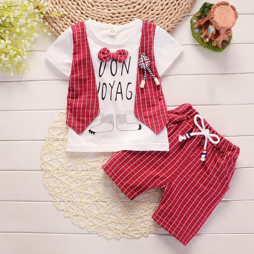 Cotton Boys Clothes Sets Suit For Boy Summer Shirts Shorts 2 pieces Suit Children Set Clothing Kids New baby Toddler 1 year Wear 2