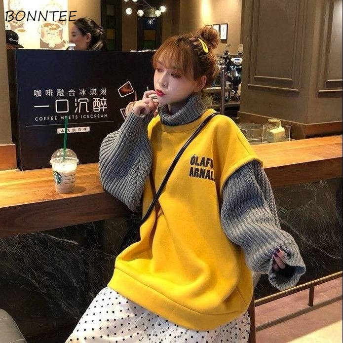 Hoodies Women Autumn Winter Chic Korean Style Simple Casual Patchwork Womens Clothing Ulzzang High Quality Soft Loose Streetwear