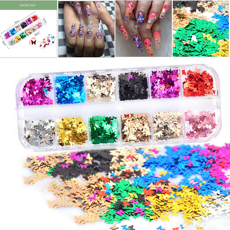 12 Colors Nail Sequins Decor Holographic Laser 3D Glitter Butterfly Flakes Decals Sparkling Manicure Deco Set Nail Accessories